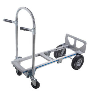 2in1 Aluminum Hand Truck 770lbs Convertible Foldable Dolly 4 Wheel Cart Fda Us