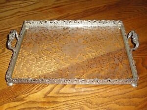 J D Schleissner Sohne 800 Silver And Engraved Glass Handled Serving Tray Hanau