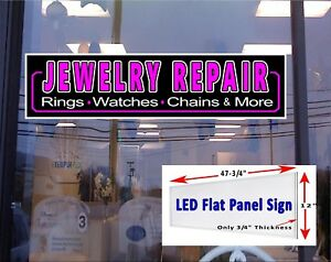 Led Sign Jewelry Repair Window Sign 48x12 Neon Banner Alternative