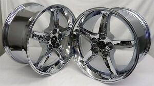 17 Chrome Ford Mustang Cobra R Replica Wheels 17x9 17x10 5 Rims 5x114 3 94 04