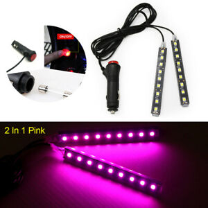 9 Led Car Suv Interior Footwell Floor Decor Atmosphere Light Neon Strips Pink