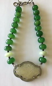 Gorgeous Vintage Chinese Carved White Jade Huge Chrysoprase Beads Necklace