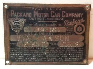 1936 37 Packard Motor Car Company Vehicle Identification Plate Detroit Coupe