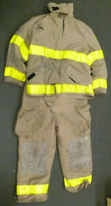 Firefighter Set Globe Jacket 46x32 Pants 44x30 W Suspenders Turn Out Gear S42