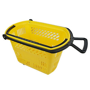 Plastic Rolling Grocery Shopping Basket On Wheels With Pull Handle Yellow Lot 6