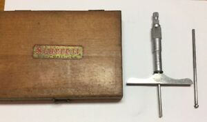L s Starrett Depth Micrometer No 445 0 3 2 Rods 4 Base Set Wood Case Box Usa