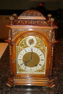 Fine Antique Lenzkirch Burl Walnut 8 Day Bracket Mantel Clock 15519