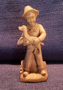 Vintage Hand Carved French Country Solid Wood Peasant Boy W Dog Figurine 3 3 4
