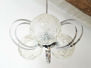 Ceiling Chandelier Vintage 1970 Steel Glass 70s 70 S Space Age Pop 70s