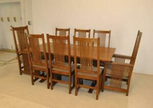 Mission Style Arts Crafts Oak Dining Room Set With 8 Chairs By Stickley