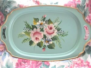 Antique Pale Green Pink Blue Flowers Tole Dresser Vanity Or Serving Tray