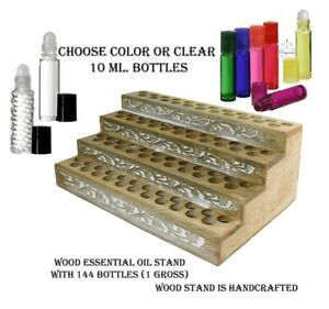 Wood Perfume fragrance Display Stand 144 1 3 Oz 10 Ml Glass Roll On Bottles