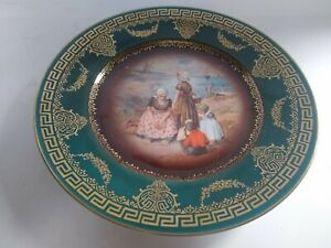 Antique Green Porcelain Plate Hand Painted People In Period Clothing 9 3 4
