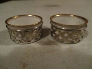 2 Sterling Silver Salts With Lenox Inserts 1 1 2