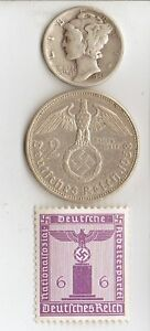 3 Silver Wwii Us And German Coins Stamps