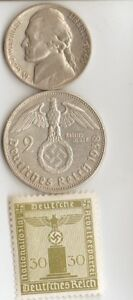 Ww2 Silver Us And German Coins Stamp