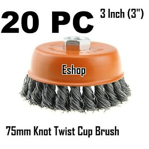 20 X 3 Wire Cup Brush Wheel For 4 1 2 Angle Grinder 5 8 11 Twist Knot Hoteche