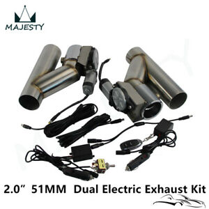2 Dual Electric Exhaust Cutout Dump Bypass Valve W wireless switch Control Kit