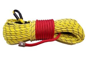 Synthetic Winch Rope Line Cable Yellow 7 16 X 100 30000 Lb With Ro