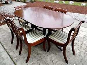 Mid Century Regency Style Glenister Mahogany Dining Table Chair Set England