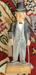 Hand Carved By Hannah Wooden Older Man Figure W Briefcase Poultney Vermont