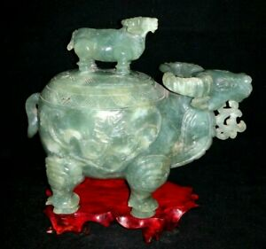 Chinese Antique Hand Carved Lidded Jade Ox Bull Statue