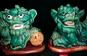 Estate Old House Chinese Antique Green Glazed Pottery Foo Dog Statue Pair