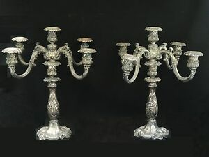 Pair Of Antique Silver Plate5 Arm Light Reed Barton 741 Candelabras