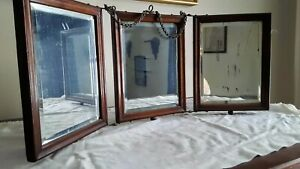 Antique Victorian Tri Fold Shaving Mirror Oak Frames