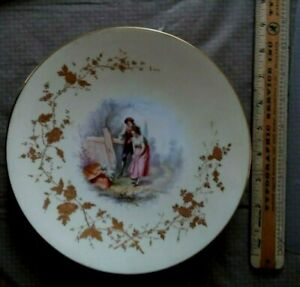 Vintage Victorian Plate With Man And Woman And Gold Leafing Rim 9 Diameter