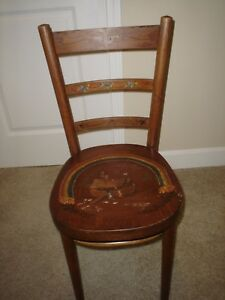 Antique Thonet Bentwood Cafe Parlor Chair With Folk Art Painting By Jane Mcdowel