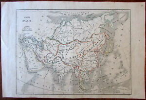 Asia Arabia India China Siam Birman 1830 Langlois Antique Engraved Map