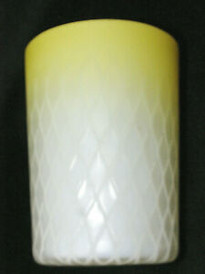 Scarce Antique Canary Yellow Satin Mother Of Pearl Diamond Quilted Tumbler