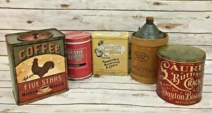 Lot Of 5 Tin Can Coffee Apple Cider Rustic Primitive Decor Tins