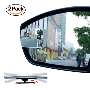 Slim Square Blind Spot Mirror Ampper Hd Glass Frameless Convex Rear View Pack 2