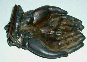 Metal Open Hands Calling Business Card Coin Holder Vintage Antique Cast 6 5