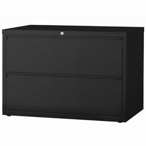 Hirsh Hl8000 Series 42 2 Drawer Lateral File Cabinet In Black