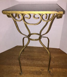 Hollywood Regency Iron Scrolled Side Table With Top