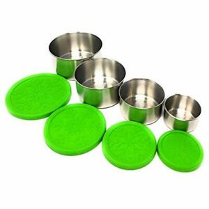 Metal Stainless Steel Food Storage Containers With Silicone Lids Set Of 4 For