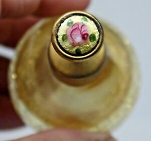 Old Vintage Gold Crackle Glass Guilloche Enamel Perfume Atomizer Bottle 1930 S