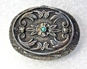 Old Antique Vintage Sterling Silver Turquoise Seed Pearl Repousee Trinket Box