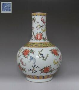 Fine Old Chinese Famille Rose Porcelain Vase Qianlong Marked 32cm 667