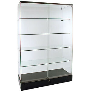 Frameless Glass Locking Showcase 48w X 18d X 72h Knockdown Assembly Required New