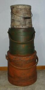 Stack Of 3 Old Painted 1800 S Firkin Sugar Bucket Wooden Graduated Sizes