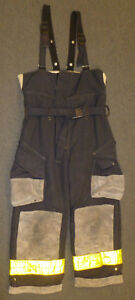 38x26 Firefighter Black Pants W Suspenders Bunker Turnout Fire Gear Cairns P911