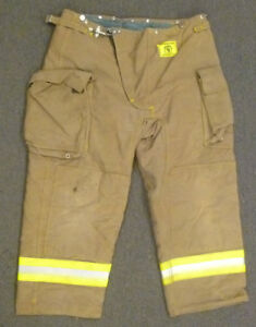 42x28 Firefighter Pants Bunker Fire Turn Out Gear Tan Brown Morning Pride P981