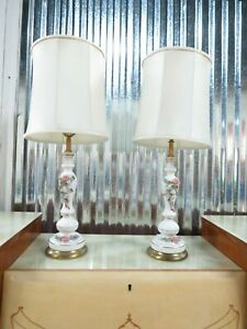 Pair Of Vintage Porcelain Lamps 29 Inch Tall With Matching Shades