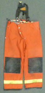 42x32 Janesville Red Pants With Suspenders Firefighter Turnout Fire Gear P974