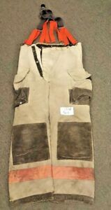 38x28 Firefighter Bunker Turnout Pants Janesville Gray With Suspenders P616