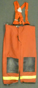 46x30 Janesville Red Pants With Suspenders Firefighter Turnout Fire Gear P971